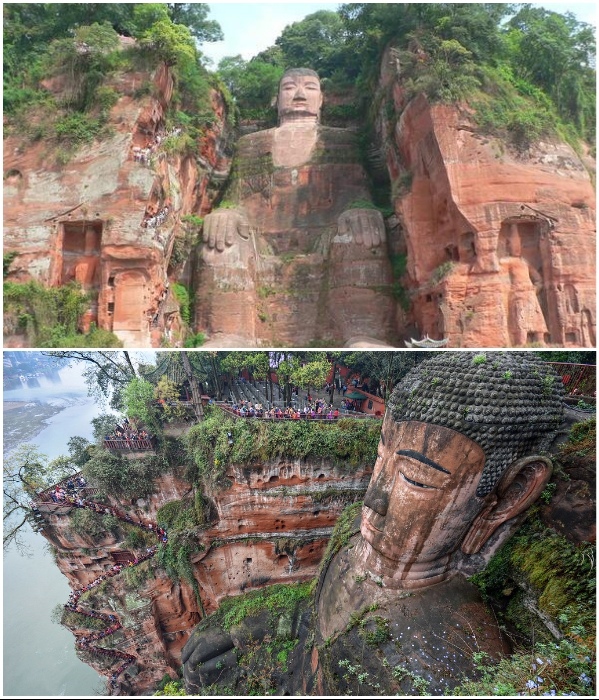 Самая большая статуя Будды находится в районе священной горы Эмэйшань (Китай). | Фото: turistadimestiere.com/ colorfulchinatravel.com.
