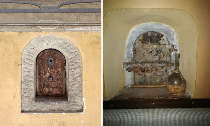 Так выглядят «винные окна» снаружи и изнутри здания. | Фото: florencecity.it/ museodelvinofirenze.it.