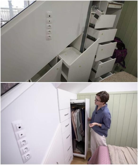 Встроенные системы хранения под лестницей сделаны по расчетам Ольги.   Фото: youtube.com/ INMYROOM TV.