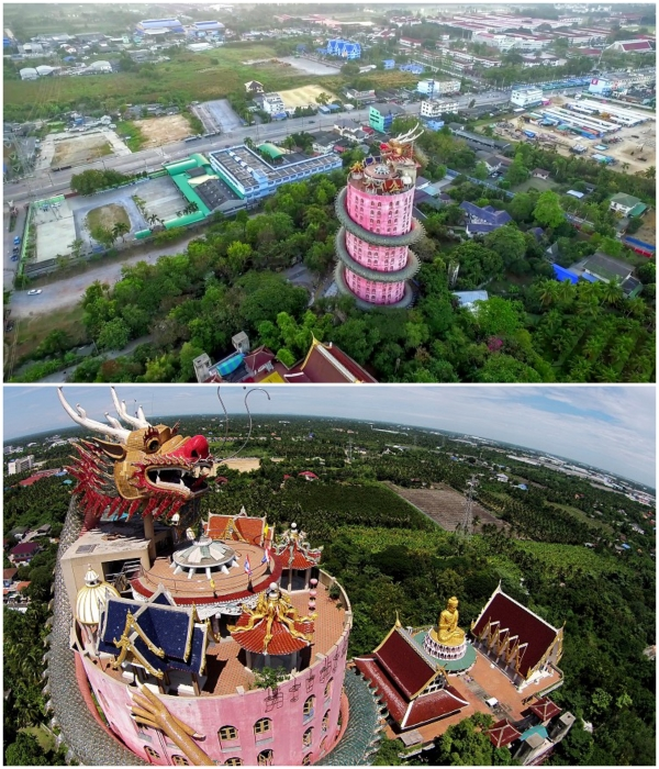 Храмовый комплекс Wat Samphran расположен в городке Накхонпатхом в окружении «Сада роз». | Фото: atlasobscura.com/ thailandfromabove.com.