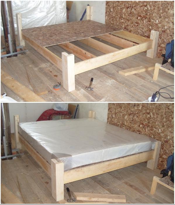 При минимальных затратах можно создать каркас для кровати из дерева. | Фото: половед.рф.