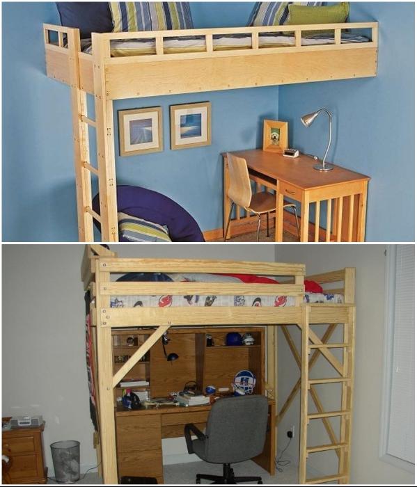 Простейшие варианты кровати-чердака, сделанные своими руками. | Фото: novamett.ru/ autocool.spb.ru