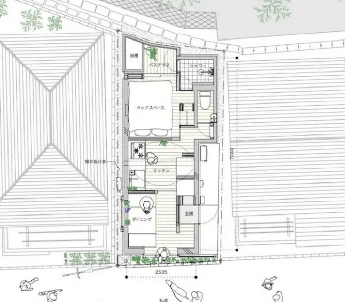 План-чертеж миниатюрного жилого дома «Love2House», созданного архитектором Takeshi Hosaka (Токио, Япония). | Фото: zen.yandex.ru.