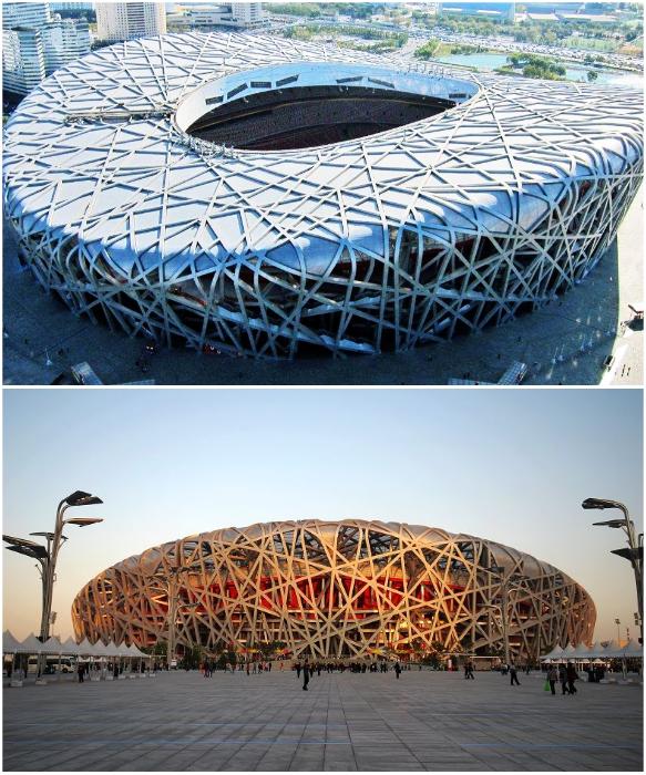 Сетчатая структура, созданная множественным переплетением стальных балок, напоминает гнездо птицы (Национальный стадион Пекина). | Фото: archialexeev.ru/ yandex.ru.