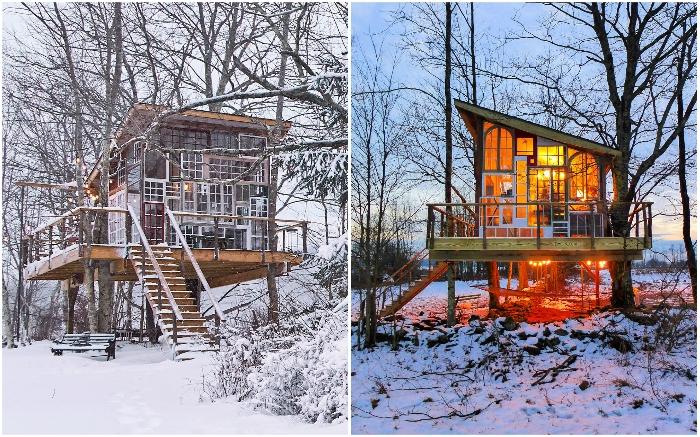 Креативный дизайнер Кристина Солуэй создала крошечный домик на дереве из собранных, подаренных и найденных старых оконных рам.