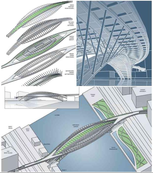 Основная конструкция моста состоит из двух двойных арок: нижней – длиной 155 м, и верхней – протяженностью 220 м (концепт Vincent Callebaut Architectures).