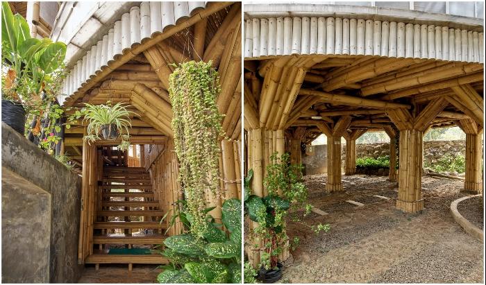 Жилой дом расположен на сваях, тоже из бамбука (Piyandeling, Индонезия).