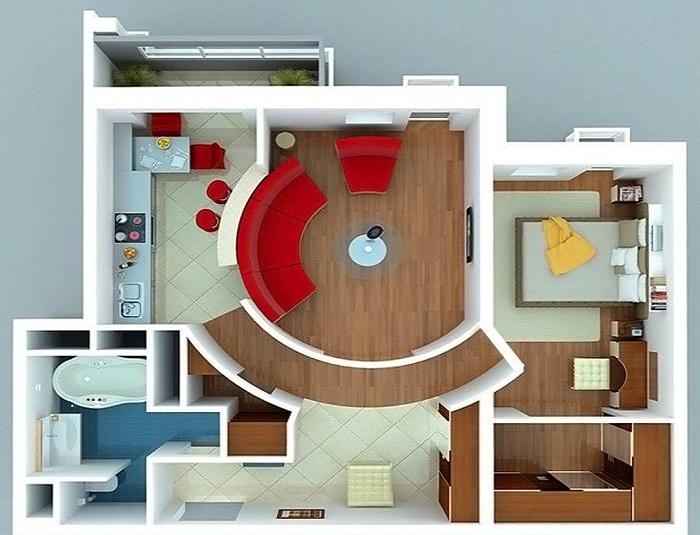 Схема перепланировки трехкомнатной квартиры.