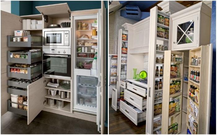 Благодаря мебели с выдвижными ящиками и выкатными стеллажами функциональность кухонного гарнитура возрастает в разы.