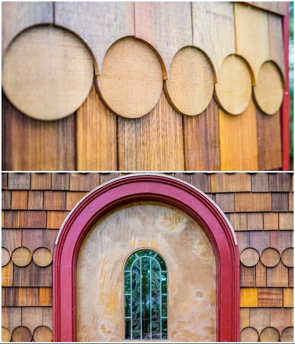 Особая нарезка досок позволила создать оригинальный фасад крошечного дома («Lucky Penny», США). | Фото: tinyhousegiantjourney.com.