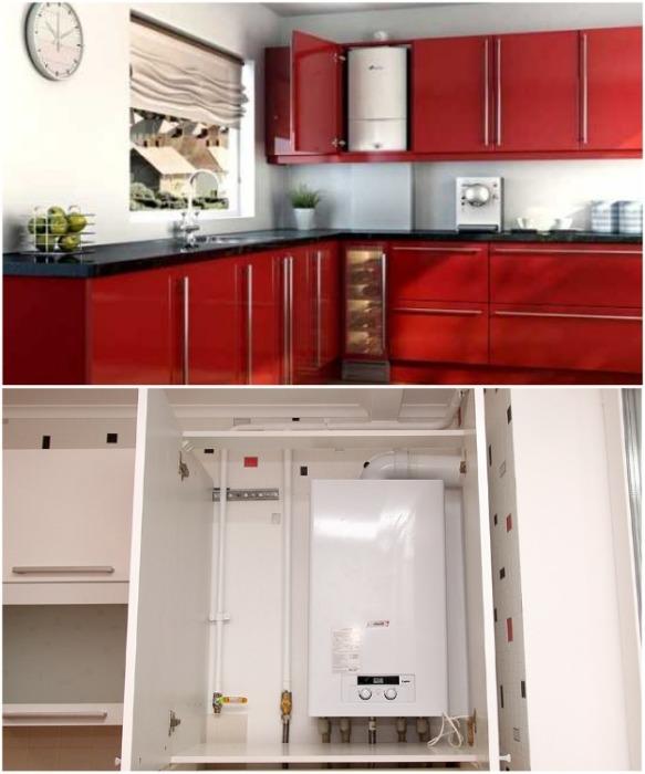 Компактное газовое оборудование можно установить даже в навесном шкафчике. | Фото: mydesigning.ru.