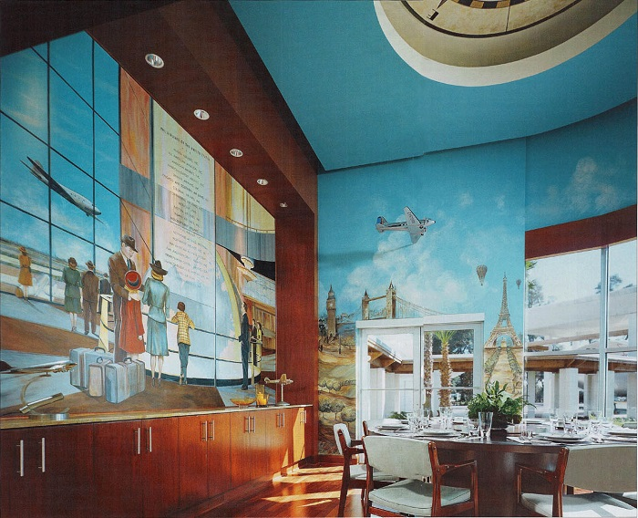 Необычная фреска стала главным украшением основной столовой. | Фото: architecturendesign.net.