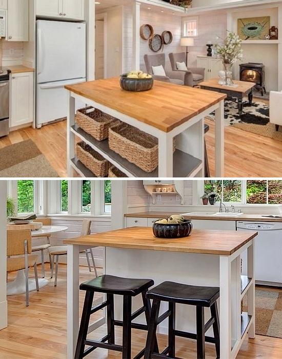 Многофункциональный стол-барная стойка помог организовать две полноценные зоны (коттедж Kvale Hytte, США). | Фото: smallhouseswoon.com.