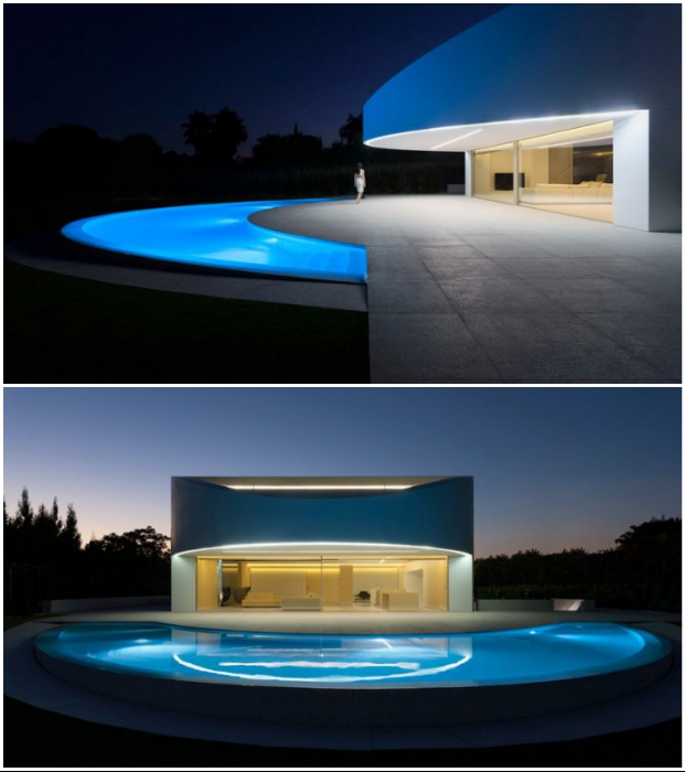 Особенно эффектно Balint House выглядит в темное время суток (пригород Валенсии, Испания).