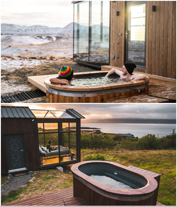 К услугам отдыхающих гидромассажная ванна под открытым небом. | Фото: panoramaglasslodge.com.