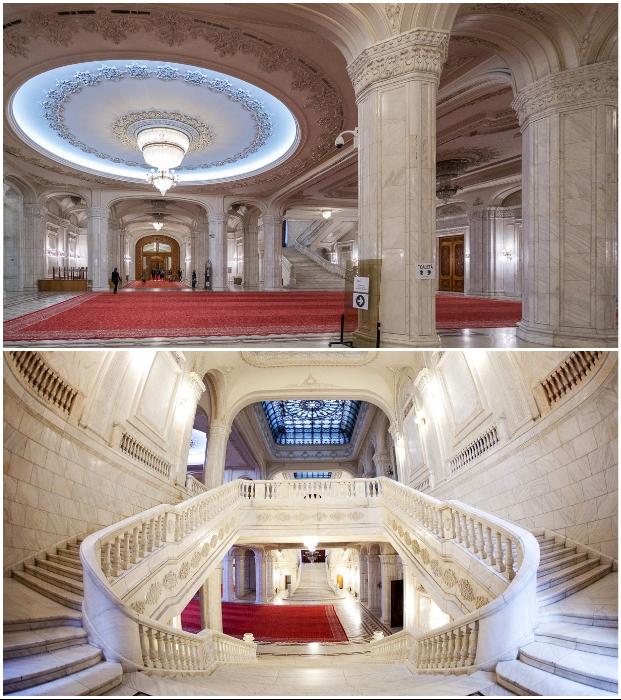 Мрамор для отделки здания был местного происхождения и доставлялся в основном из Рушкицы (Palatul Parlamentului, Румыния).