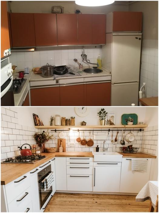 Белоснежная кухня стала намного просторней и уютней, чем была прежде. | Фото: odprtakuhinja.delo.si.