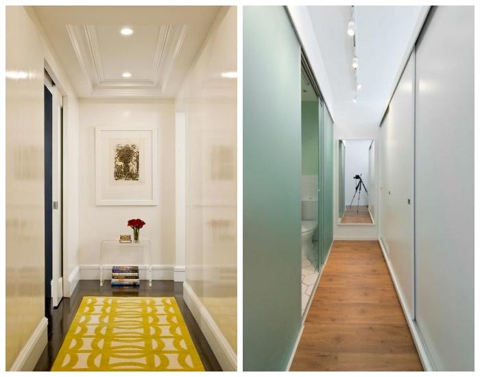 Использование глянцевых поверхностей для визуального расширения узкого коридора. | Фото: homester.com.ua.