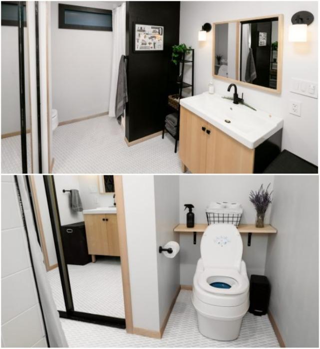 Ванная комната и санузел в доме-юрте, созданном  супругами Лопес. | Фото: twizz.ru.