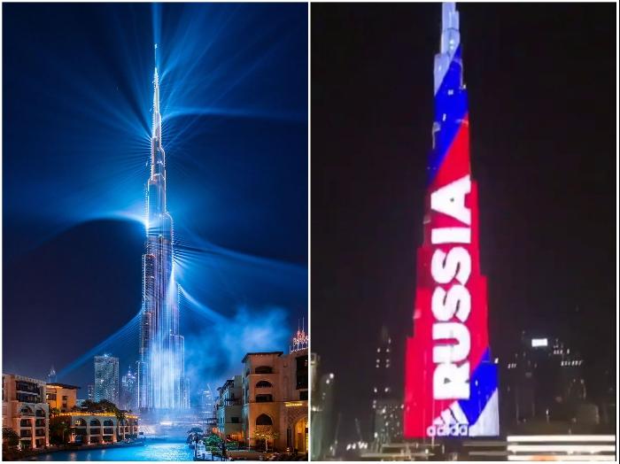 Зачастую Burj Khalifa окрашивают в цвета флагов различных стран или устраивают фантастическое лазерное шоу (Дубай). | Фото: nazarov-partners.com/ bugaga.ru.