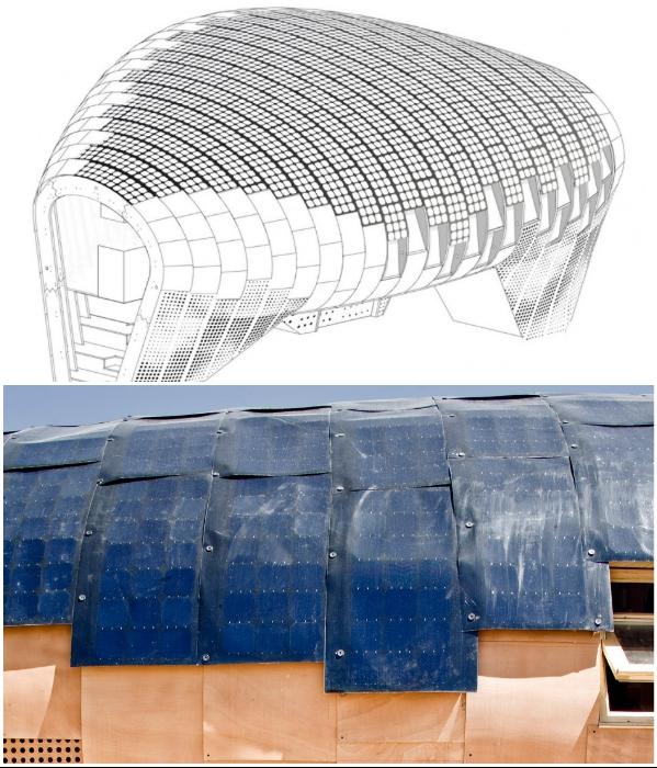 Благодаря округлой форме удалось разместить большее количество гибких фотогальванических солнечных батарей. | Фото: smallhouseswoon.com/ vdomax.ru.