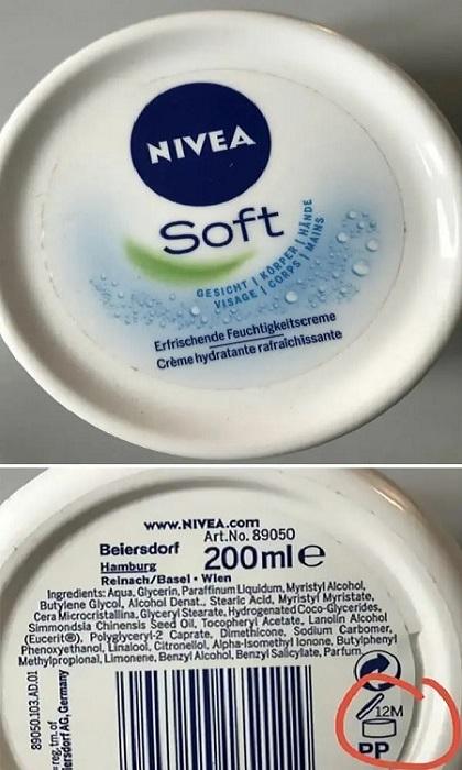 Эти маленькие коды на обратной стороне косметических средств говорят о сроке годности открытого продукта. | Фото: tastefullyoffensive.com.