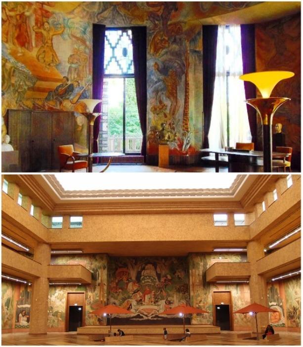 Главным украшением центрального зала стала фреска площадью 600 кв.м., созданная студентами Школы изящных искусств (Le palais de la Porte Doree, Париж). | Фото: frenchparis.ru.