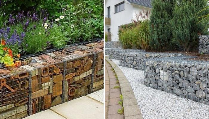 Конструкции из натурального камня и сетчатых коробов являются наиболее популярными среди дачников и ландшафтных дизайнеров. | Фото: mainavi.ru.