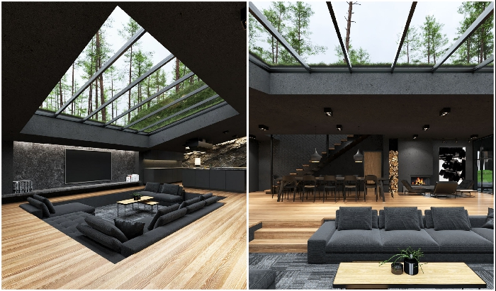 Большую гостиную с открытой планировкой украшает мансардное окно (концепт Black Villa, США).