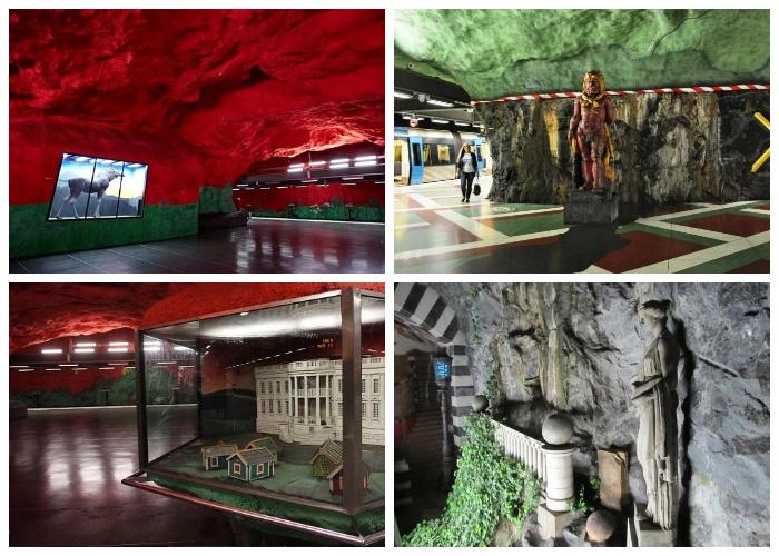 Стокгольмский метрополитен, станции «Сольна-сентрум (Solna Centrum)» и «Королевский сад (Kungstradgarden)» (Швеция).