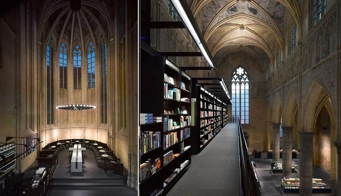 Готическая строгость линий, особенный интерьер и освещение помогли создать необычную атмосферу в книжном магазине, который когда-то был настоящим храмом (Маастрихт, Нидерланды).