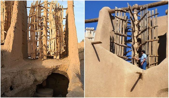 Древние ветряные мельницы Ирана созданы из глины, соломы и древесины (Nashtifan). | Фото: amusingplanet.com/ pinterest.com.