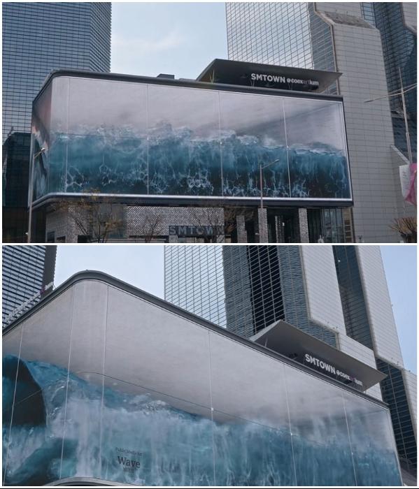 Невероятный визуальный эффект дополняется еще и звуком прибоя («WAVE», Сеул).   Фото: boredpanda.com/ displaysolutions.samsung.com.