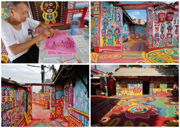 «Радужный дедушка» без устали разрисовывает каждый клочок деревни (Rainbow Village, Тайвань).