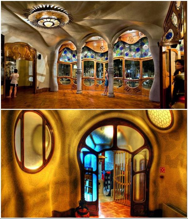 Интерьер Casa Batllo под стать самому зданию. | Фото: thebettervacation.com/ pinterest.com.