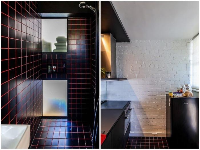 Для отделки кухни и ванной архитектор использовал черную керамическую плитку. | Фото: youtube.com.