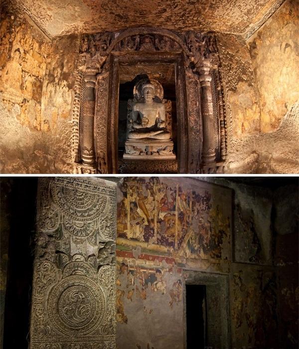 До наших дней сохранилась не только каменная резьба, но и уникальные фрески (Kailasanatha, Индия). | Фото: kailash.ru.