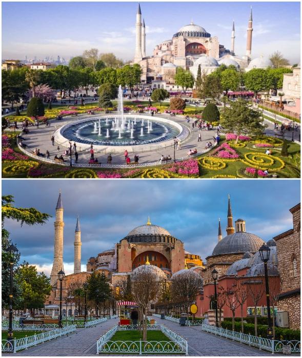 Во времена Османской империи были достроены минареты (Собор Айя-София, Стамбул).