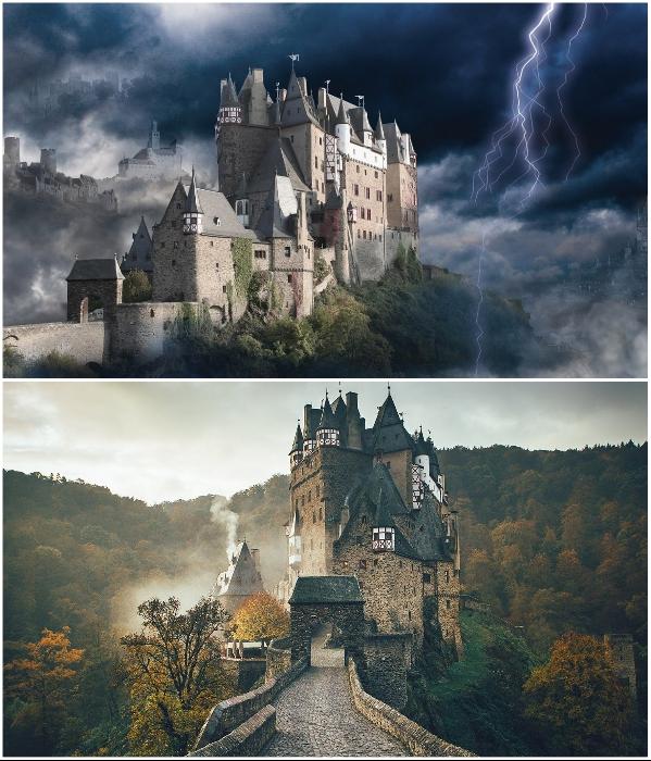 На самом деле это старинный и красивейший замок Германии (Burg Eltz). | Фото: novosti-n.org/ pinterest.com.