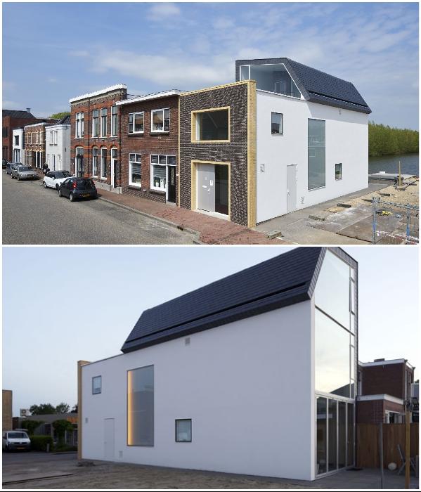 За обычным фасадом прячется особенный дом (Meerkerk, Голландия). | Фото: dezeen.com.