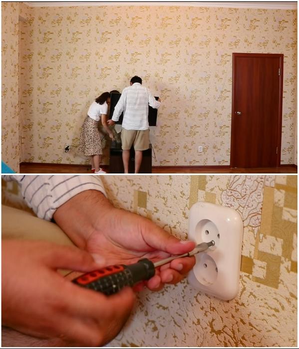 Перед ремонтом нужно вынести всю мебель и снять выключатели/розетки. | Фото: youtube.com/ © Fancy smth.