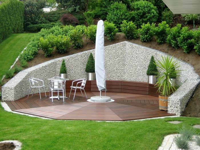Идеальное место отдыха на свежем воздухе, созданное при помощи габионов. | Фото: rehouz.info.