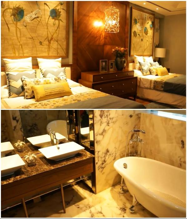 Интерьер спальни с ванной комнатой в одной из квартир-резиденций небоскреба Kingfisher Tower-Residences (Бангалор, Индия). Фото: youtube.com/ © Balaji Badrinath.