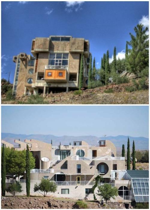 Практически все здания выполнены в единой цветовой гамме (Arcosanti, США). | Фото: ruflex.livejournal.com.