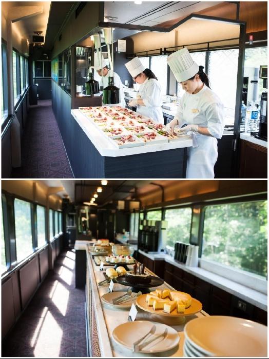 В буфете туристического поезда «Эмоции Тохоку» можно не только отведать традиционные сладости, но и увидеть весь процесс приготовления пищи. | Фото: tohoku-buffet.com.