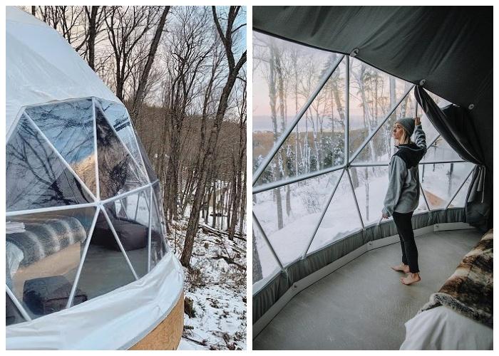 Создавать нужное количество окон можно самому, приподнимая полотно ПВХ (Domes Charlevoix, Канада).