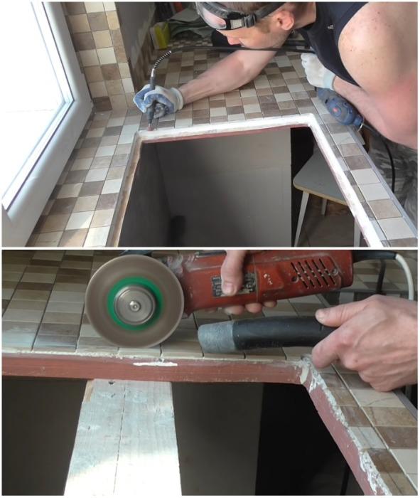 Для того, чтобы установить мойку на один уровень со столешницей, пришлось сделать немало подгоночных работ. | Фото: youtube.com.