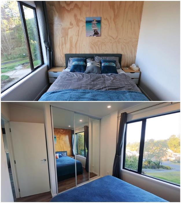 Спальня хозяйки контейнерного дома совсем крошечная, но светлая и уютная. © IQ Container Homes.