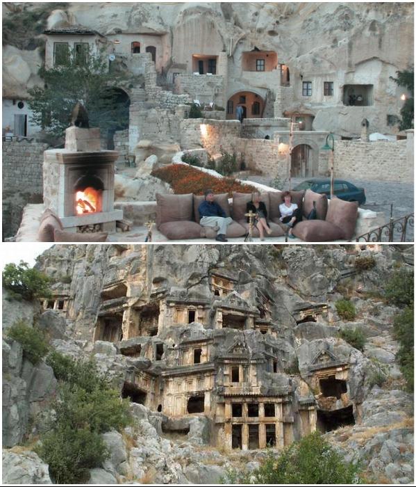 Пещерные дома и деревни Каппадокии (Турция). | Фото: novamett.ru/ spletnik.ru.