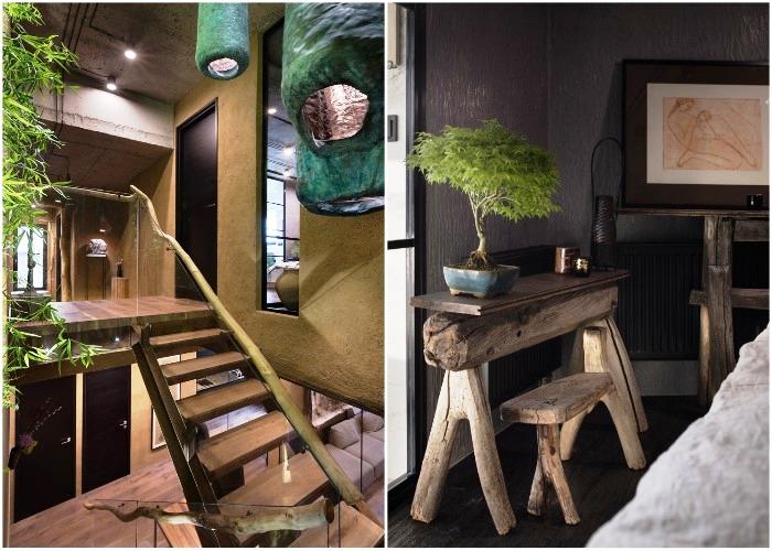 Интересные дизайнерские элементы в интерьере квартиры выполнены из натуральных материалов (Wabi Sabi Apartment).